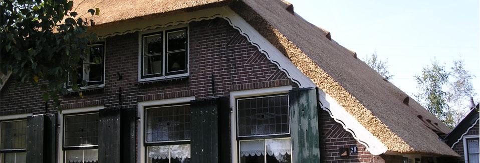 Rietdekkersbedrijf Van Drie en Vliek__Boerderij groene luiken rieten dak