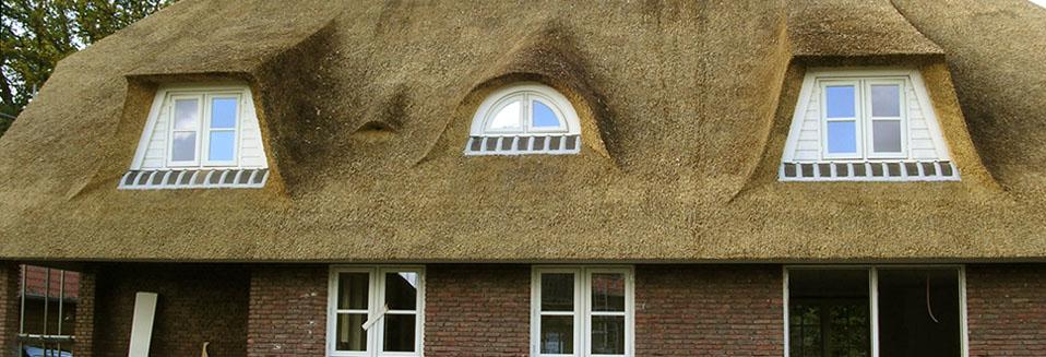 Dakkapellen in rieten dak